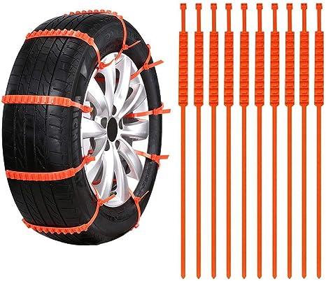Codirato 10 Stück Auto Schneeketten Universal Reifenketten Anti Rutsch Auto Ketten Kunsstoff Schneeketten Für Fahrzeuge Schneerutsch Küche Haushalt