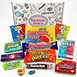 Mini American Candy Box Hamper | American Sweets and Chocolate Bar Gift Box Selection | Reeses, Baby Ruth, Nerds, Jolly Rancher | 13 Items in Retro Sweets Box