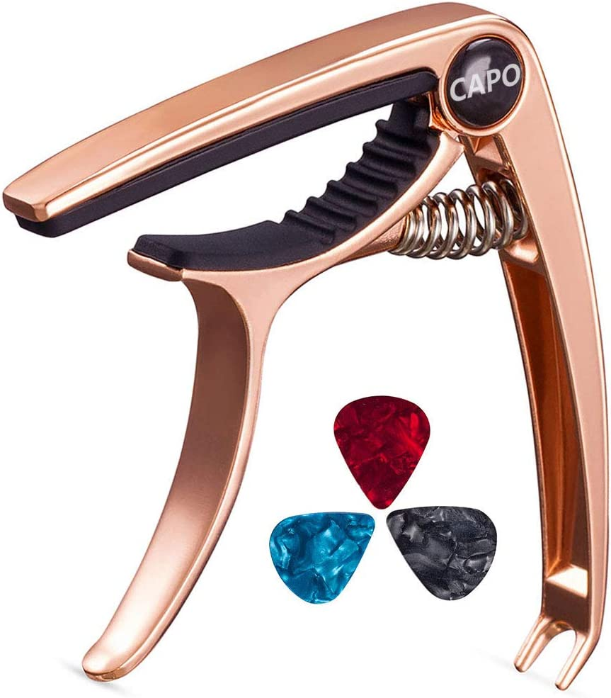 Guitar Capo, Bee-life Professional Zinc Metal Capo for 6 String Acoustic Guitar, Electric Guitar, Ukulele, Bass, Banjo, Mandolin with Free 3 PCS Guitar Picks(Rose Gold)