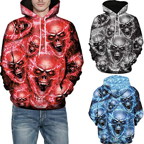 SMALLE ◕‿◕ Clearance,Mens 3D Printed Skull Pullover Long Sleeve Hooded Sweatshirt Tops Blouse by SMALLE (Image #3)