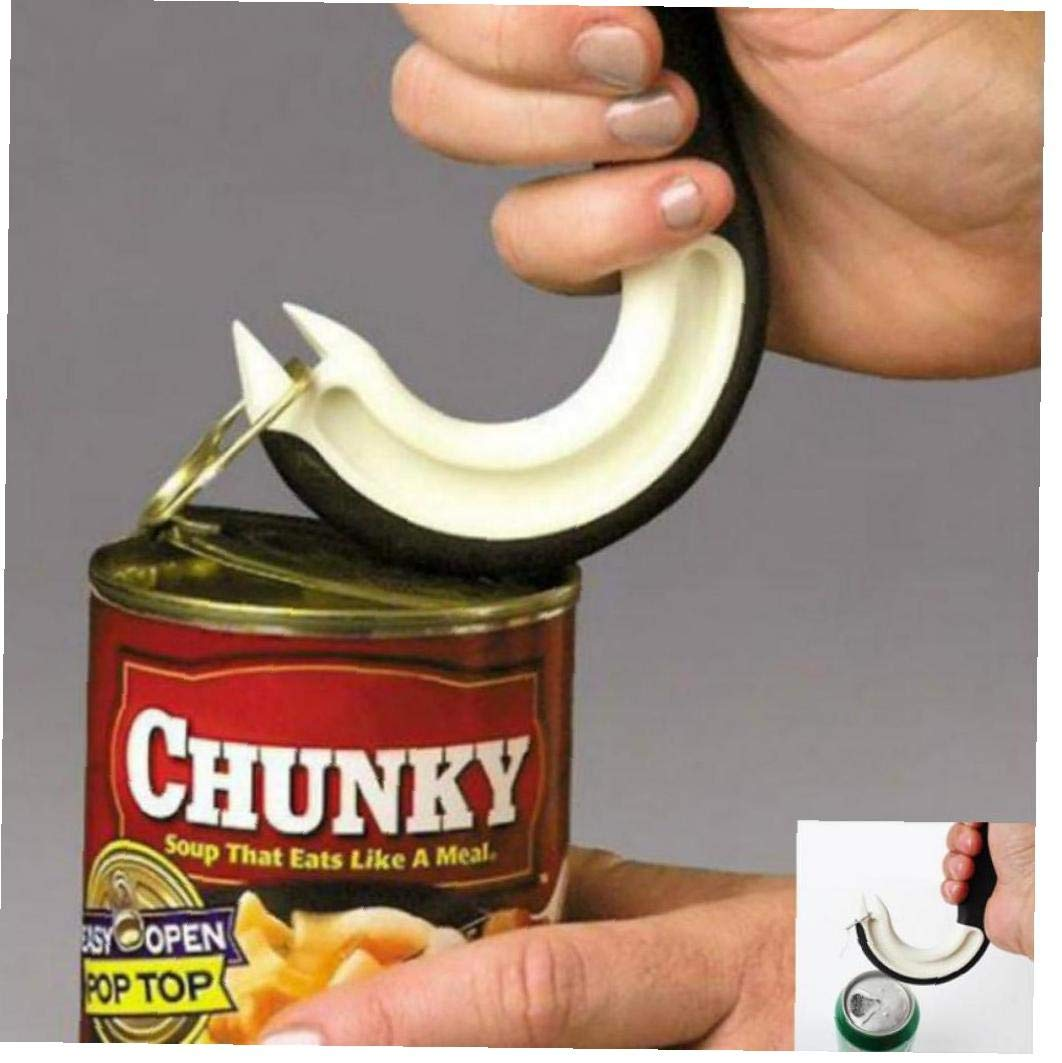 Abrelatas de tarro con anillo de agarre antideslizante abridor de latas con leng/üeta para los dedos para personas con artritis o problemas de movilidad