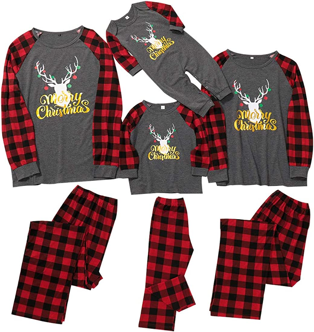 Matching Family Pajamas Sets Christmas PJs with Letter Printed Long Sleeve Tee and Red Plaid Pants Loungewear