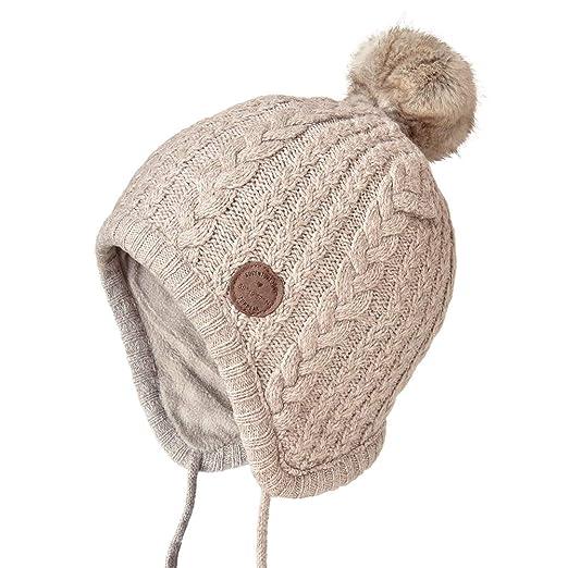 9244243d6 SOMALER Toddler Kids Winter Ear Flap Beanie Hat Boy Girl Fur Pompom Knit  Hats