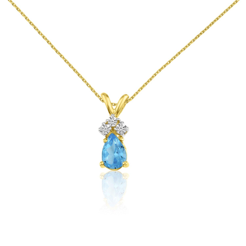 14k Yellow Gold Amethyst Pear Pendant with Diamonds