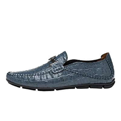 Snowman Lee Men's Premium Leather Loafers Fashion Crocodile Pattern Casual Slip-on Driving Shoes