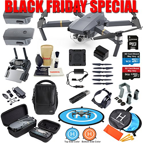 DJI Mavic Pro Drone Quadcopter Fly More Combo with 3 Batteries, 4K Professional Camera Gimbal Bundle Kit with Must Have...