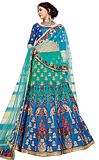 0b67e17999 INMONARCH Traditional Steel Blue Art Silk Lehenga Choli LSR363: INMONARCH:  Amazon.co.uk: Clothing
