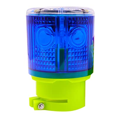 Aolyty Solar Strobe Warning Light 360 Degree Super Bright Waterproof IP48 for Construction Traffic Dock Marine Wireless Light Control Flashing (Blue): Automotive