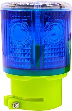 Blue Aolyty Solar Strobe Warning Light 360 Degree Single Column Super Bright Waterproof IP48 for Construction Traffic Dock Marine Wireless Light Control Flashing