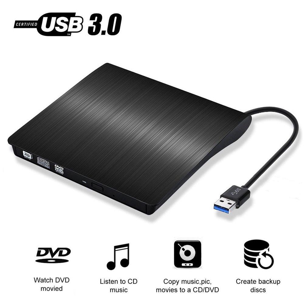 External CD Drive USB 3.0 Ultra Slim DVD Drive CD DVD RW / DVD CD ROM Drive / Writer / Burner / Rewriter / for Apple Macbook Pro Laptop/Desktops Win10 and Win 8 By Vebox (Black)