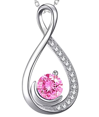 6109873a0 Necklace Sterling Silver Jewelry Gifts for Mom Pink Tourmaline Love Infinity  Half Moon Swarovski Necklace Anniversary