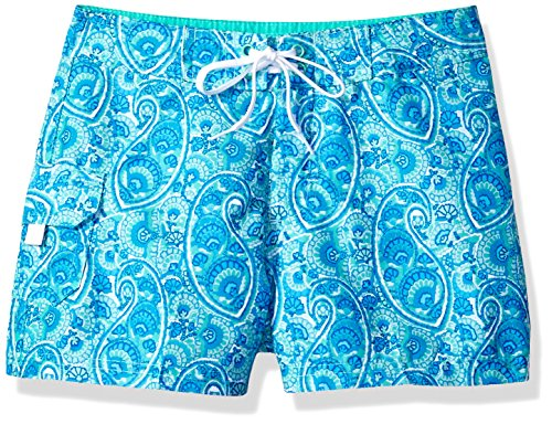 Kanu Surf Big Girls' Sassy UPF 50+ Quick Dry Beach Coverup Boardshort, Sundance Blue Paisley, Small (7) -