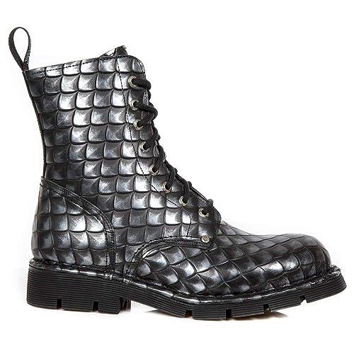 New Rock M.NEWMILI084-S55 Botas Botines Unisex Mujer Hombre Acero Cuero Piel Tacón Punk Heavy Gotico Militares: Amazon.es: Zapatos y complementos
