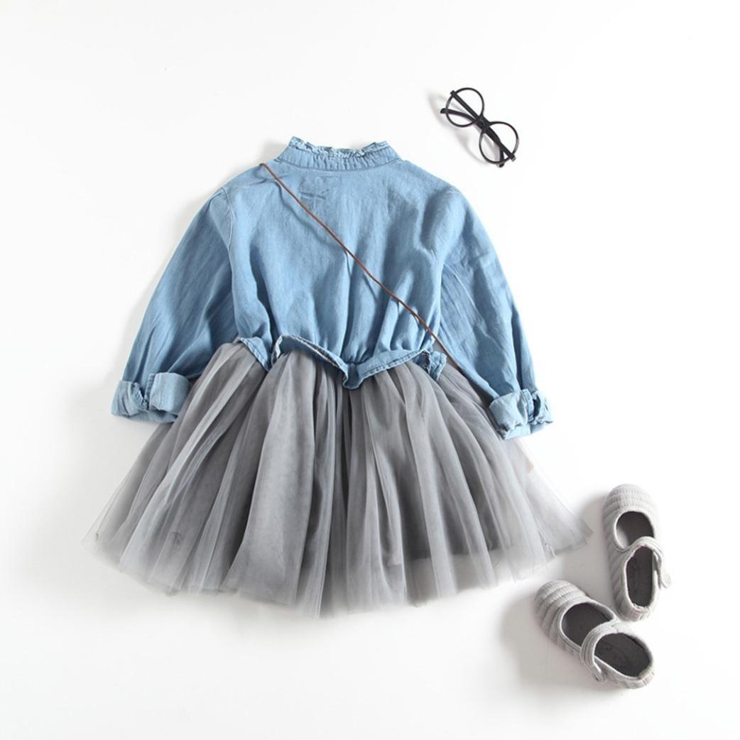 TiTCool Baby Girls Denim Dress Long Sleeve Princess Tutu Dress Nostalgia Clothes