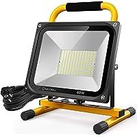 Onforu 80W Foco Trabajo LED, 7600LM Super Potente con 2 Modos de Brillo Ajustable, IP65 Impermeable, Luz de Tabajo 5000K Blanco Frío, 5M Cable de Alimentación con Enchufe, Foco de Obra para Taller