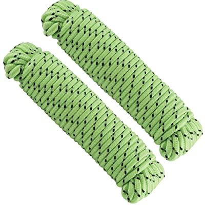 Katzco Glow-in-The-Dark Rope for Nighttime Sports, Decor, Pet Toys, Crafts, Indoor and Outdoor Use - 2 Pieces, 3/16 Inch X 50 Feet: Automotive