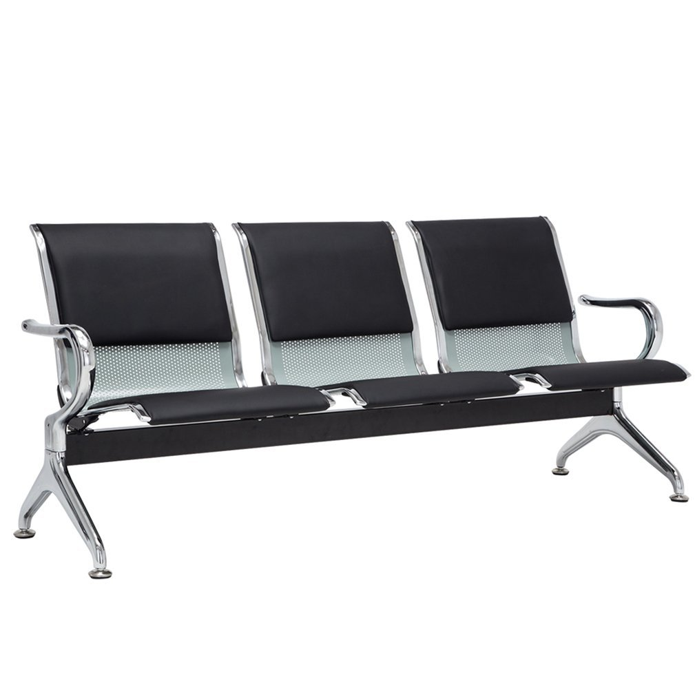 Attrayant Amazon.com: JinQi Beauty Duty Silveru0026Chrome Salon Casual Reception Area  Airport Waiting Room Bench Chair 3 Seat: Kitchen U0026 Dining