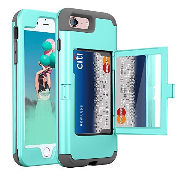 hot sale online 8a02e 1ed54 iPhone 6s Mirror Wallet Case, ZAOX Card Holder Heavy Duty 3 in 1 Armor Hard  Shockproof Cover with Back Mirror Drop Protection Hybrid Protective Purse  ...
