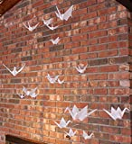 Hanging Mobile with 18 White Origami Paper Cranes