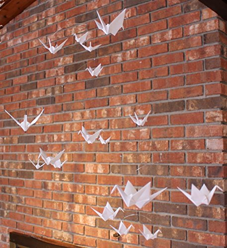 Hanging Mobile with 18 White Origami Paper Cranes by The Timeless Crane