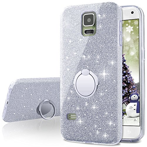 - Galaxy S5 Case,Silverback Girls Bling Glitter Sparkle Cute Phone Case with 360 Rotating Ring Stand, Soft TPU Outer Cover + Hard PC Inner Shell Skin for Samsung Galaxy S5 -Silver