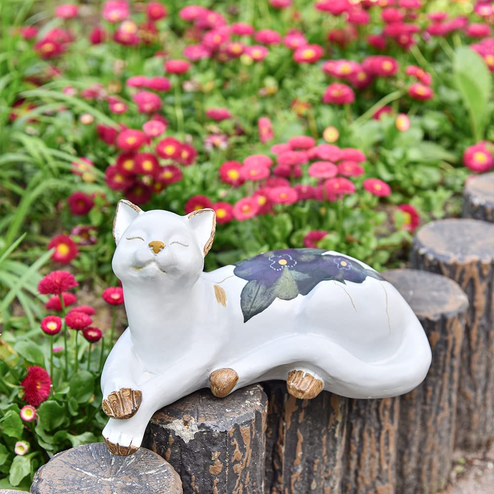 Sungmor Lovely Thinking Cat Garden Statue - Decorative Indoor Outdoor Landscaping Cat Statue Ornaments - Home Garden Yard Plant Stands Book Shelf Wall Rack Table Stairway Decoration