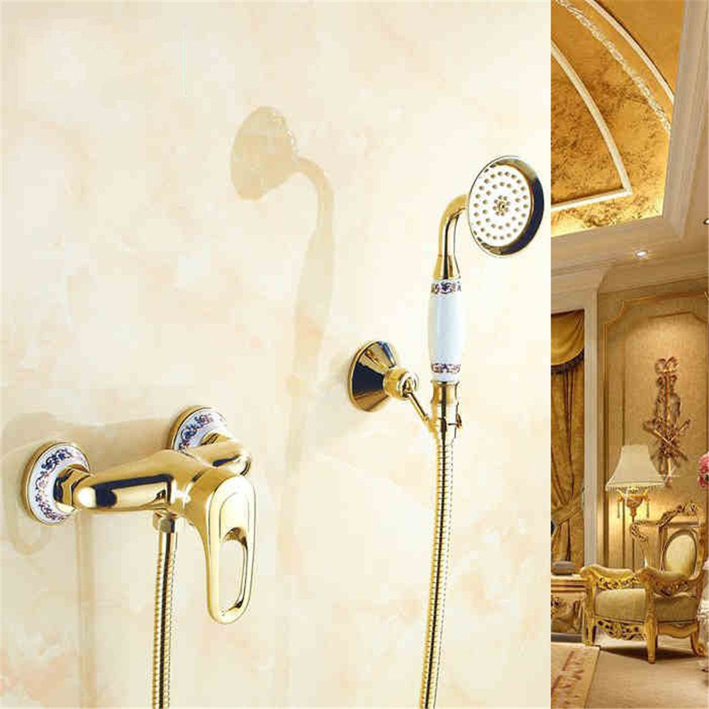 FHLYCF European style retro blue and white porcelain, full copper shower, golden shower head hand shower
