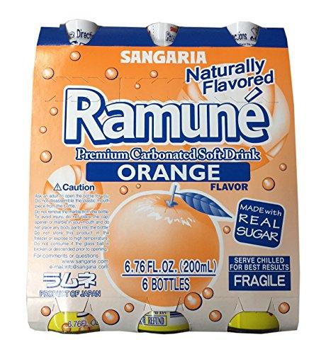 Sangaria Ramune Premium Carbonated Soft Drink 6.76 fl oz per Bottle (Orange, 6 Bottle)