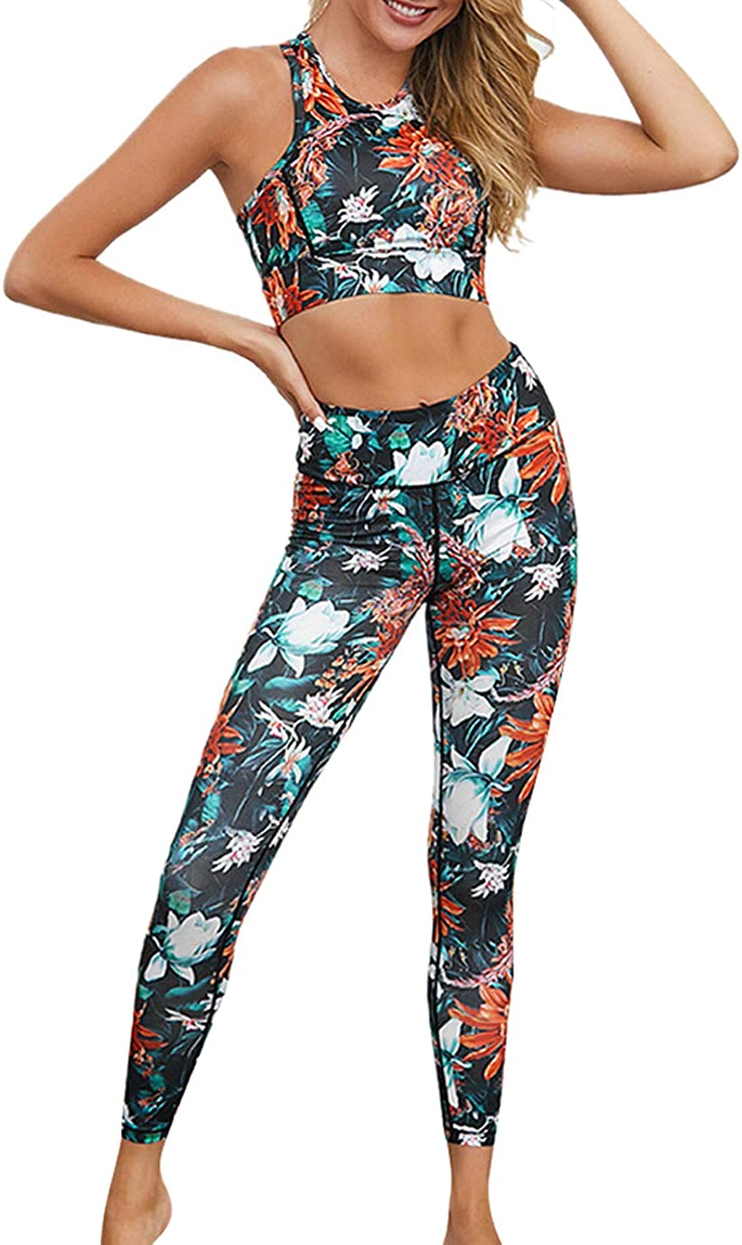 Womens Yoga Set Athletic Gym Outfit Workout Fitness Suit Tank Tops Cropped Pants