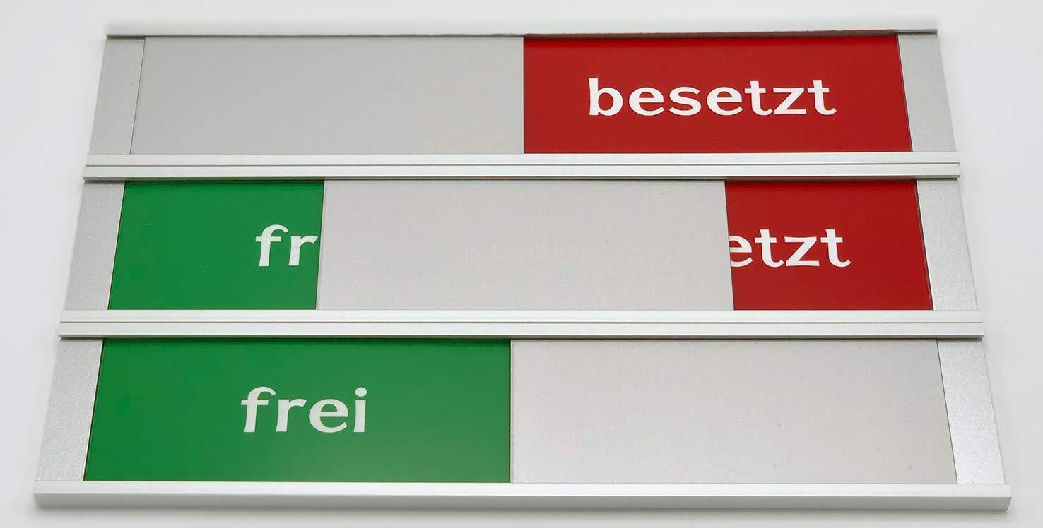 Besprechungsraumschild. St 3M Klebefl/äche Frei Frei Besetztschild zum Kleben Besetzt Schild Pro-max aus Aluminium Farbe grau Mit gr/ün rot Schieber 255 mm x 57 mm x 6 mm Schiebeschild