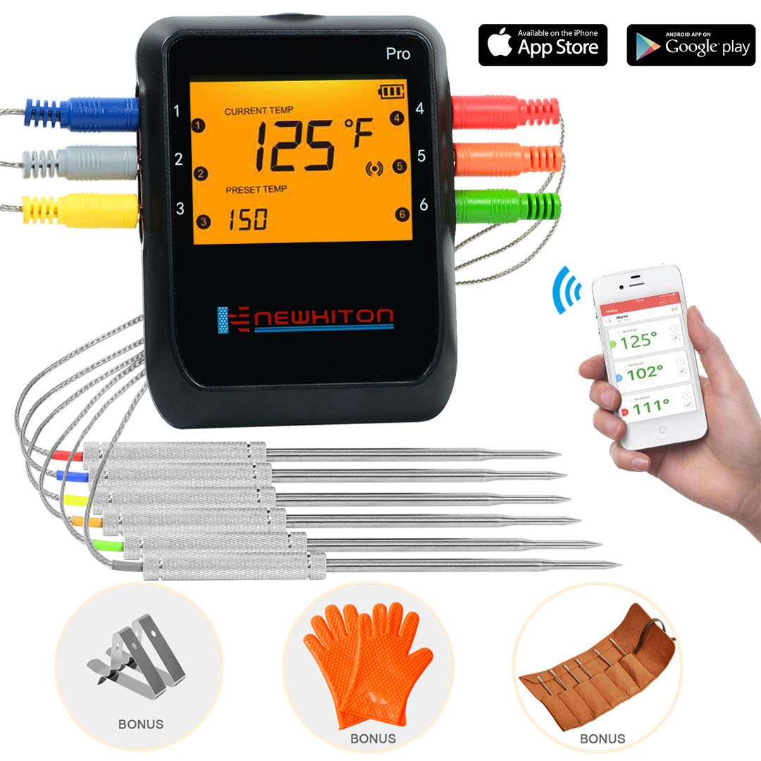 Newkiton Smart Wireless Meat Thermometer with 6 Stainless Steel Probes, APP Controlled Bluetooth Digital Thermometer for Cooking Smoker Grill Barbecue Oven Kitchen, Support iOS & Android by Newkiton
