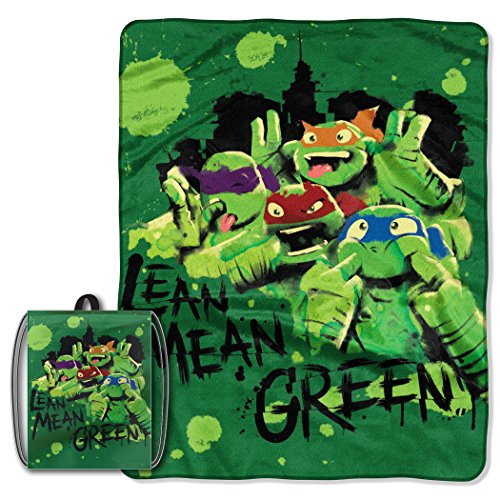 Licensed Character Drawstring Tote and Micro Raschel Throw Blanket Set - Soft, Plush and Comfortable (Ninja Turtles Silly Face)