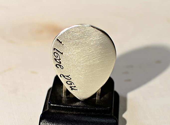 I love you guitar pick handmade in sterling silver