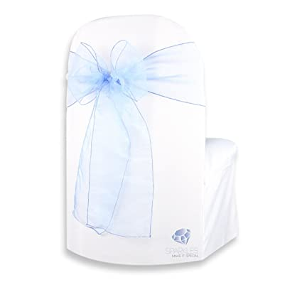 Sparkles Make It Special 100 Pcs Organza Chair Cover Bow Sash   Light Blue