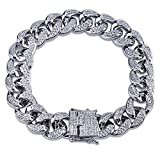 SHINY.U 14mm 14K Silver Plated Hip Hop Iced Out Miami Cuban Chain Bracelet for Women Men CZ Bling Jewelry (8)