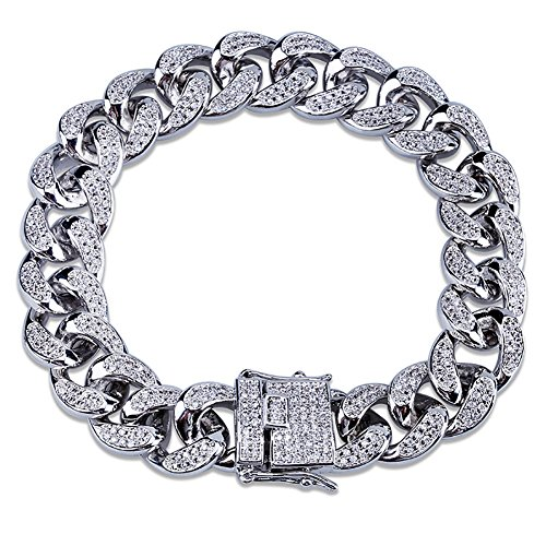 SHINY.U 14mm 14K Silver Plated Hip Hop Iced Out Miami Cuban Chain Bracelet for Women Men CZ Bling Jewelry (8) ()