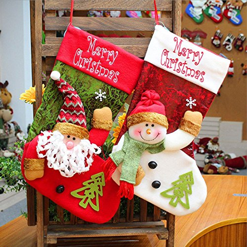 MeiLiMiYu 18-Inch Christmas Stockings 2 PCS Snowman and Santa Claus Appliques Christmas Tree Decoration Gift Bag ()