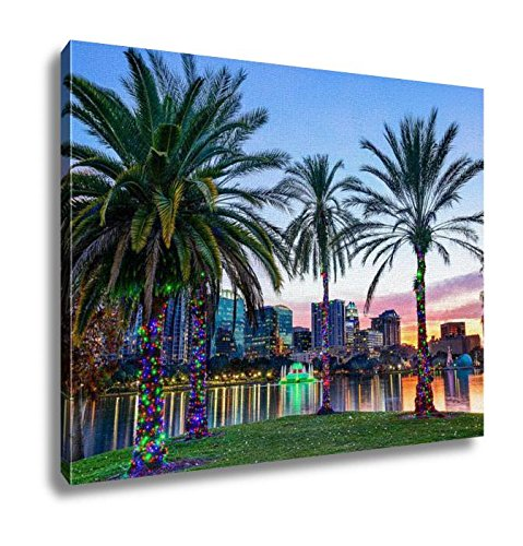 Orlando Painting - Ashley Canvas Orlando Florida Usa Downtown Skyline At Eola Lake Wall Art Decoration Picture Painting Photo Photograph Poster Artworks, 20x25