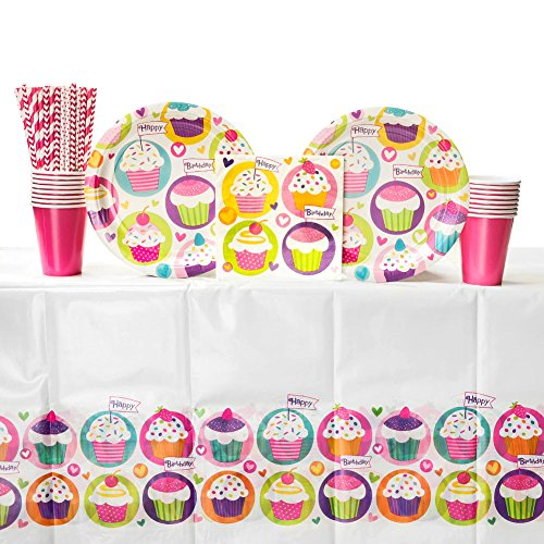 Cupcake Birthday Party Supplies Pack for 16 Guests | Straws, 16 Dinner Plates, 16 Luncheon Napkins, 16 Cups, and Table Cover | Cute Party Supplies For Your Little Baker! | Cupcake Birthday Supplies