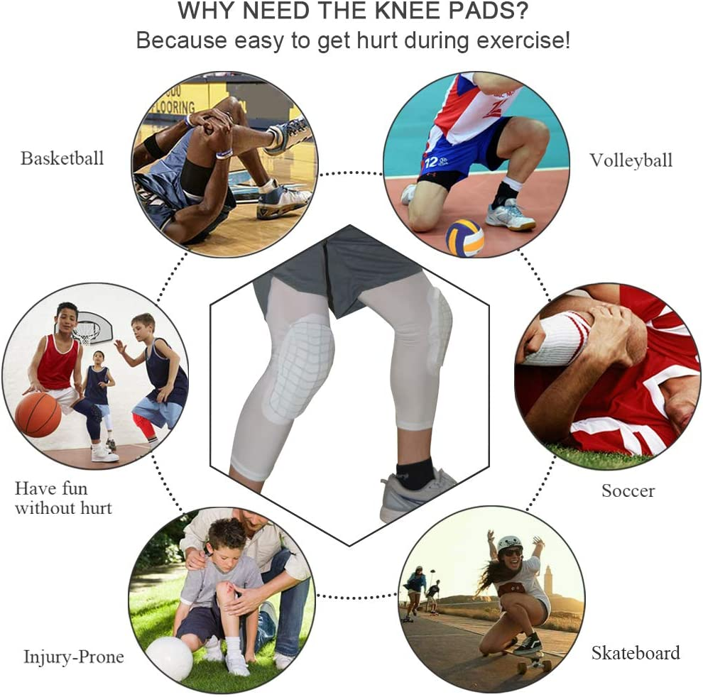 1 Pair of Knee Sleeve Compression Knee Sleeves Pads for Basketball Protective Gear Knee Pads for Kids /& Adult