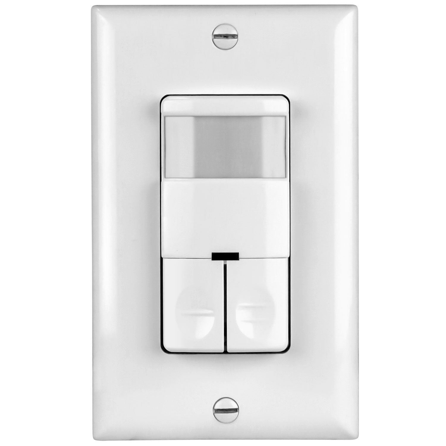 TOPGREENER TDOS5-JD Dual Load Occupancy/Vacancy Light Switch and Bathroom Fan PIR Motion Sensor, 800W, 1/4HP, 120/277VAC, Secured Ground Wire Required, Neutral Not Required, White