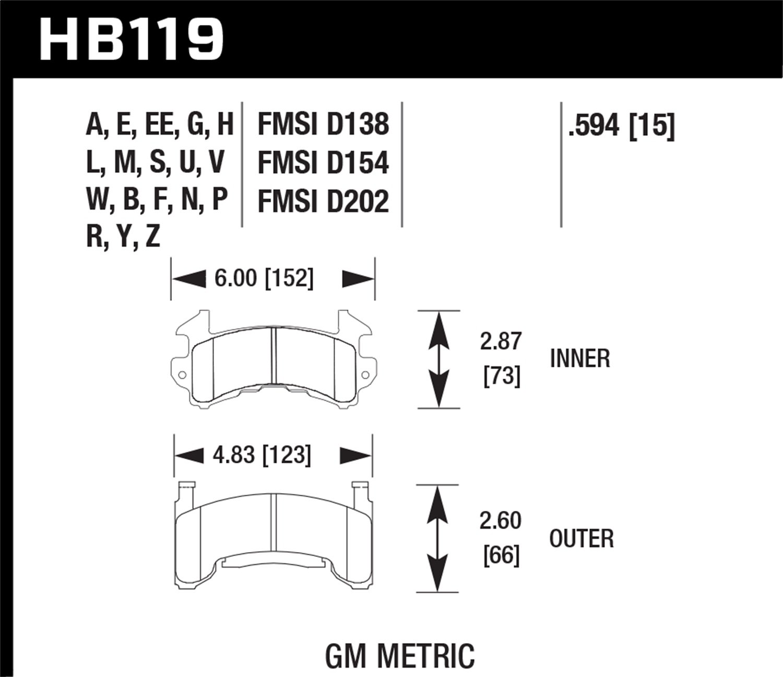 HB119R.594 Hawk Performance High Performance Street Race Brake Pad