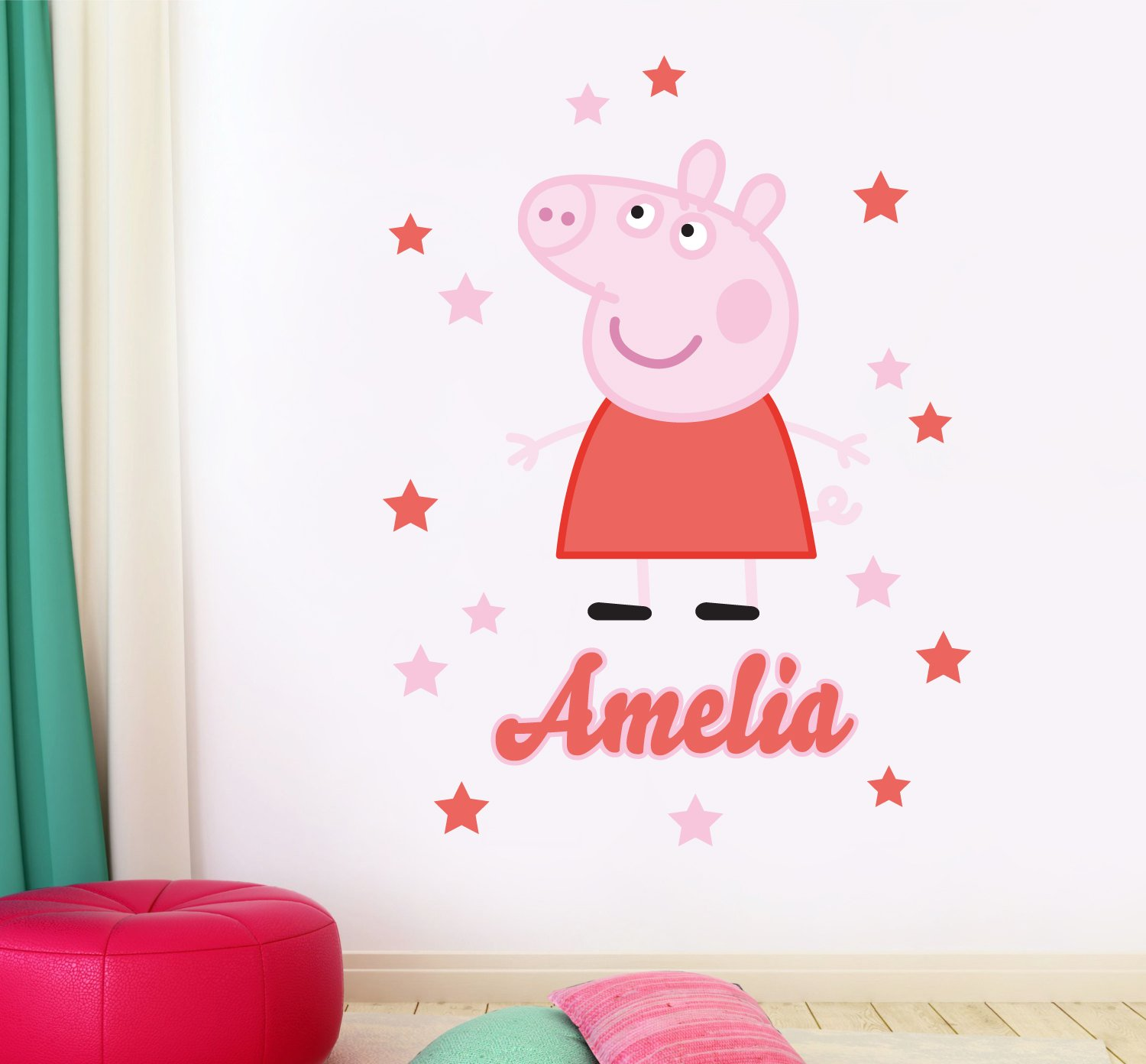 Personalised name peppa pig childrens bedroom playroom wall personalised name peppa pig childrens bedroom playroom wall sticker wall decal wall art vinyl wall mural amazon kitchen home amipublicfo Images