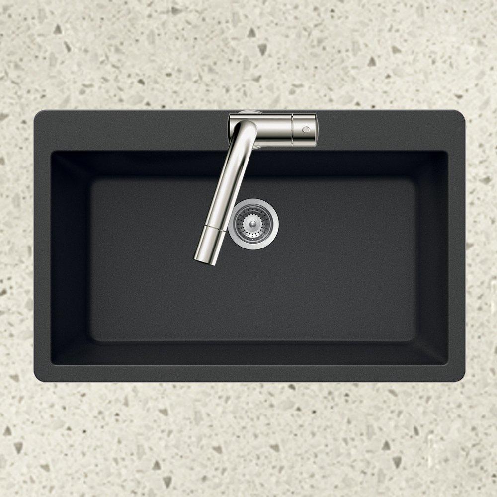 Houzer V-100 MIDNITE Quartztone Series Granite Top Mount Large Single Bowl Kitchen Sink, Black