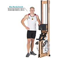 skandika Wasserrudergerät Suora   100% Holz   ohne Strom   All-Info-Display   Kraft- und Herz-Kreislauftraining
