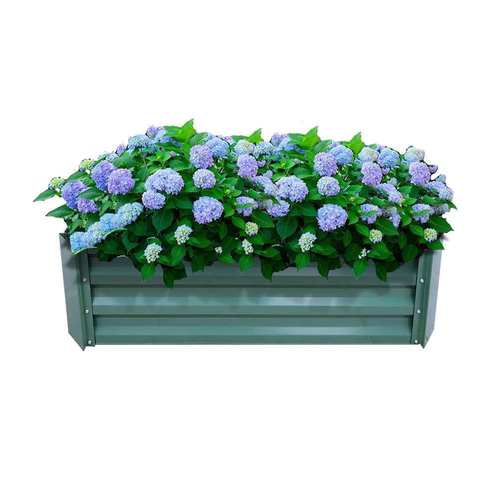 AUFUN Jardinera de Acero Galvanizado 120x60x30cm Verde bancal de ...