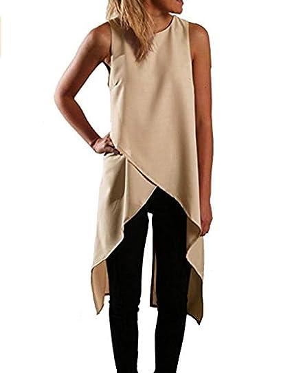 d1e5b42a Relipop Women Chiffon Sleeveless Casual Fashion Asymmetric Dress