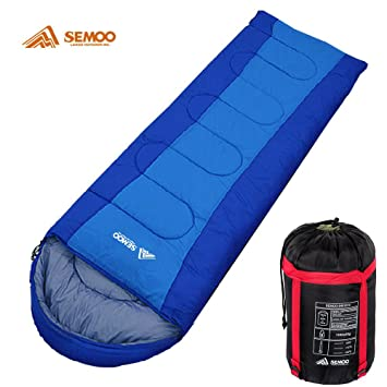 Semoo Saco de Dormir Rectangular para Adultos en Azul - Sleeping Bag para 3 Estaciones -