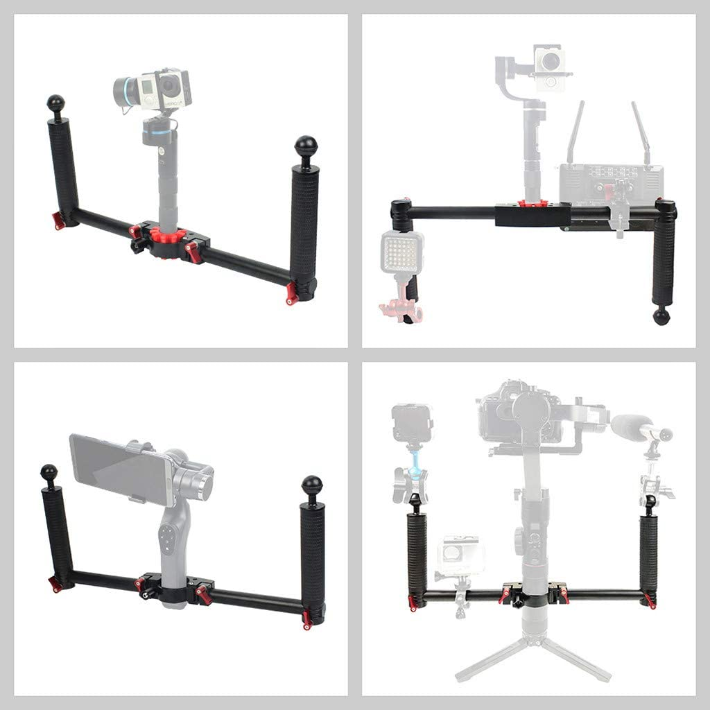 Black Dual Handheld Stabilizer for DJI Ronin-S Mosunx Expansion Accessories for DJI Aluminum Alloy Gimbal Support Stand Holder for MOZA//Zhi Yun//FeiyuTech