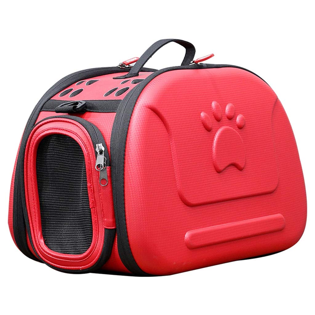 Red Portable Pet Backpack Soft-Sided Collapsible EVA Pet Travel Carrier with Mesh Windows, Pgoldus Design, Best for Small Dogs and Cats